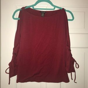 5 for $25! Guess Jeans cold shoulder maroon top